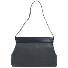 Hermes Black Leather Evening Top Handle Satchel Small Shoulder Bag