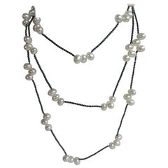 Cultured Pearls Hematite 925 Sterling Silver Gemstone Long Necklace