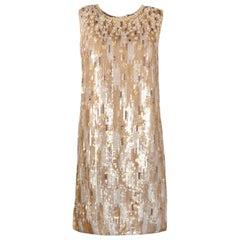 Andrew GN Nude/Beige Metallic Sequin/Beaded Sleeveless Shift Dress Sz 2