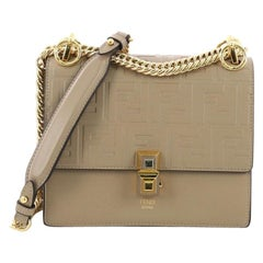 Fendi Kan I Handbag Logo Embossed Leather Small