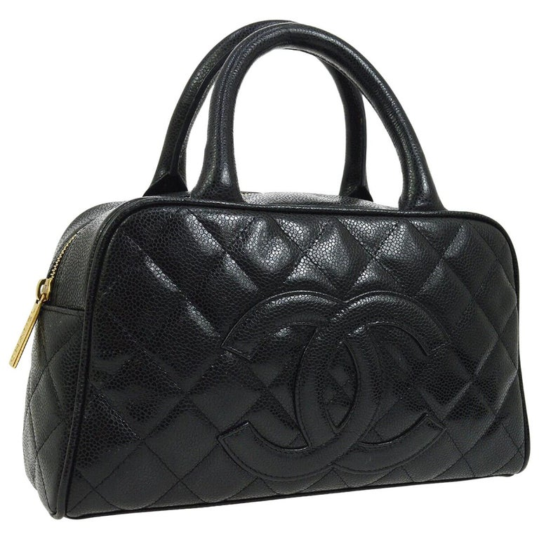 3576d556a1f8 Chanel Black Leather Caviar Small Top Handle Satchel Bowling Tote Bag For  Sale