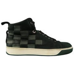 LANVIN Size 9 Forest Green Woven Leather High Top Sneakers