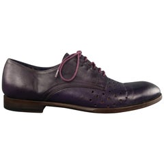 PAUL SMITH Size 11 Purple Perforated Detail Leather Lace Up Lace Up