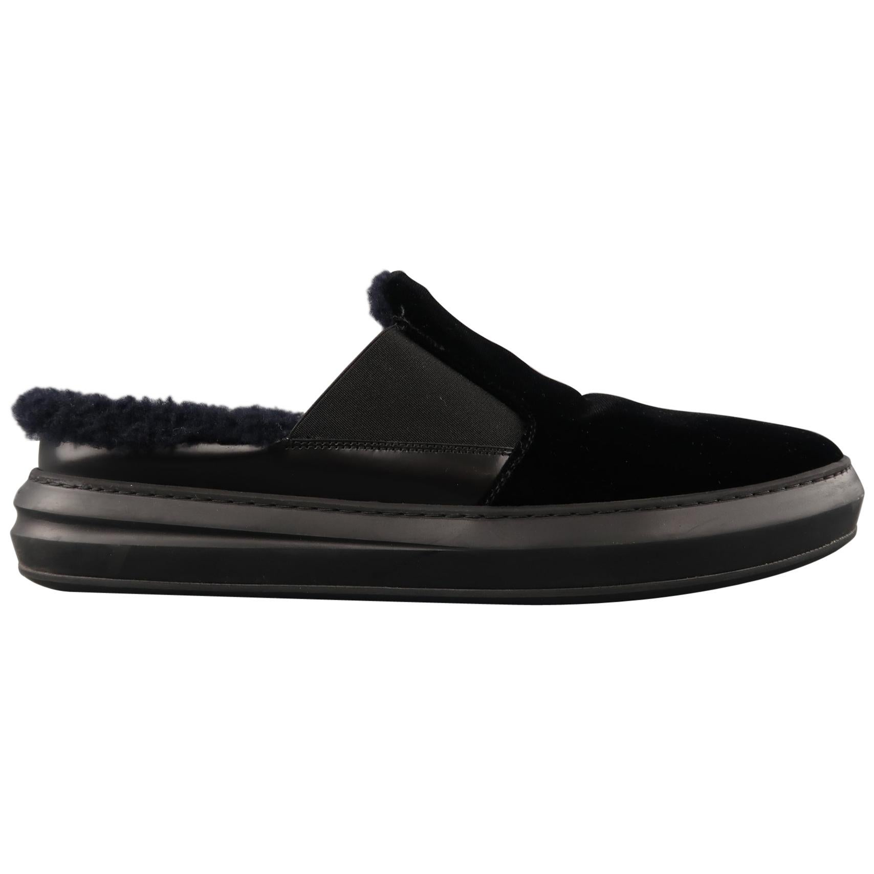 SALVATORE FERRAGAMO Size 11 Black Velvet Fur Lined Slip Loafers
