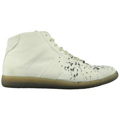 MAISON MARGIELA Size 11 White Ink Splattered Canvas High Top Trainer Sneakers