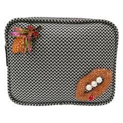 Lisa C . Bijoux black and white fanny pack shoulder bag