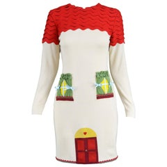 Moschino Vintage Surrealist House Cream and Red Wool Blend Knit Dress, 1980s