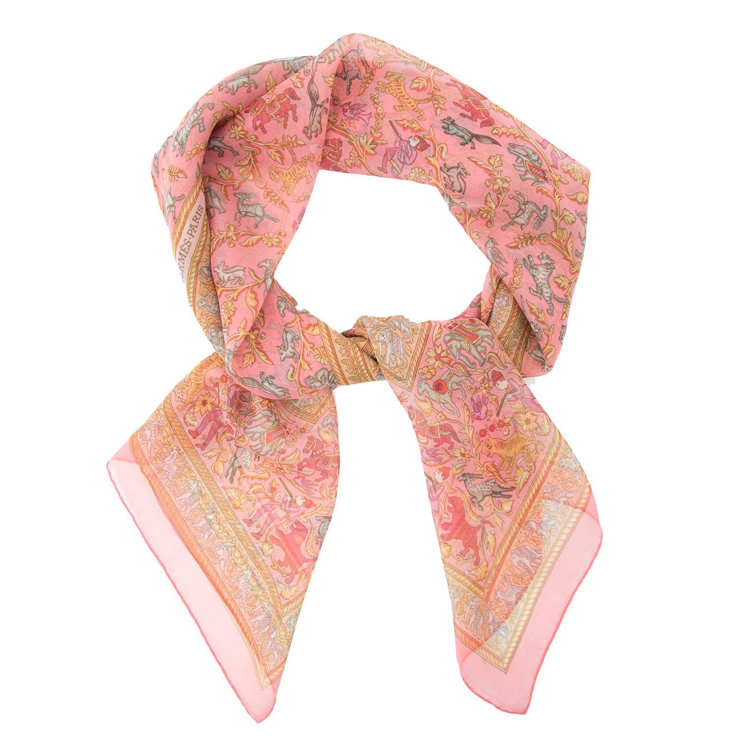 Hermès Mousseline Silk Scarf Chasse en Inde