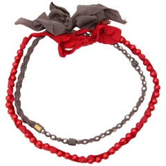 Lanvin Red & Taupe Bead Ribbon Necklace