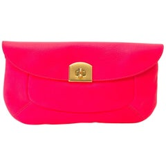 Sergio Rossi Neon Pink Clutch
