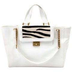 Jimmy Choo White Tote Bag With Zebra Pattern Flap