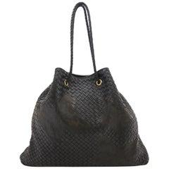 Bottega Veneta Waxed Leather Intrecciato Farfalle Drawstring Bag Nero Black