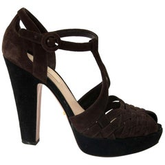 Prada Black and Brown Suede Heels - size 36