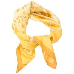Salvatore Ferragamo Yellow Moon & Stars Silk Scarf