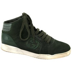 Gucci Men's Green Hitop Trainer with Interlocking G Detail - size 41