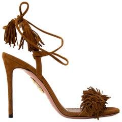Aquazzura Wild Thing Cognac Suede Heels - Size 36