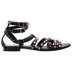 Saint Laurent Black Studded Leather Sandals - Size 36
