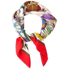 Gucci Red and White Flora Silk Scarf