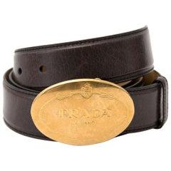 Prada Black Saffiano Leather Belt Size 85