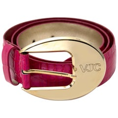 Versace Jeans Couture Pink Embassed Crocodile Leather Belt - size 85