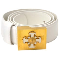 Versace White Gold Cross Belt