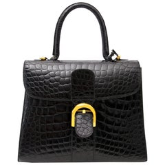 Delvaux Black Croco Brillant MM
