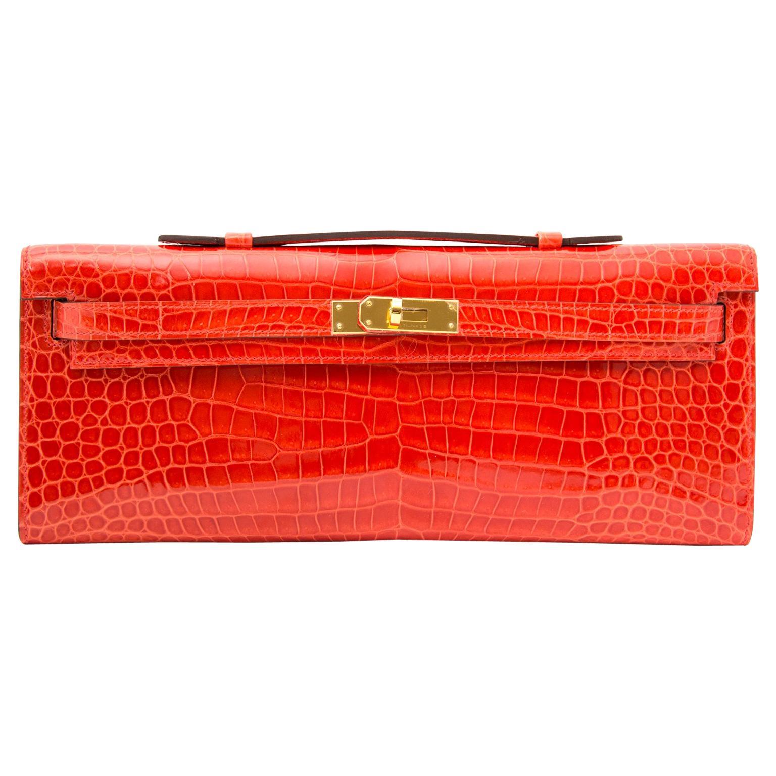 *Never Used* Hermès Kelly Cut pochette crocodile porosus lisse orange