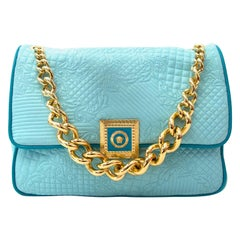 """Versace Turquoise Quilted Leather """"Vanitas"""" Flap Chain Shoulder Bag"""