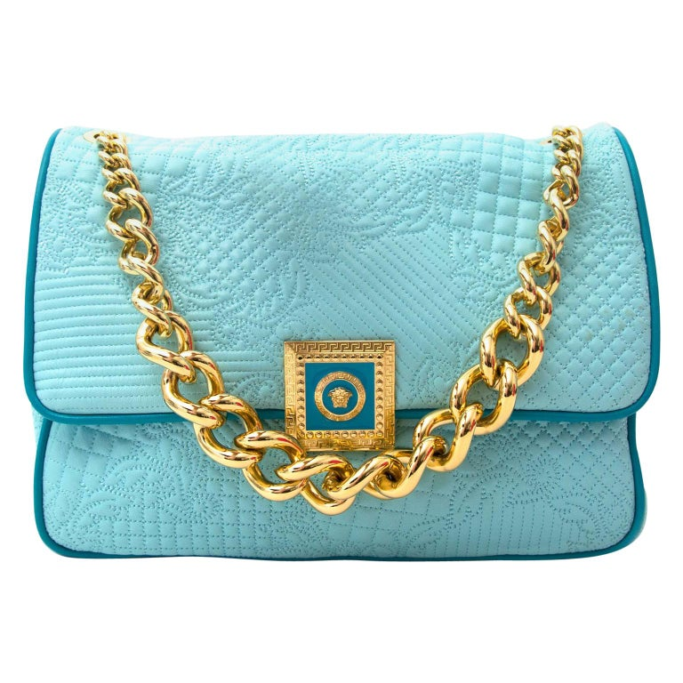 882d67aa Versace Turquoise Quilted Leather