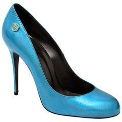 Philipp Plein 'Fortuna Plango' Irridescent Blue Pumps - size 37.5