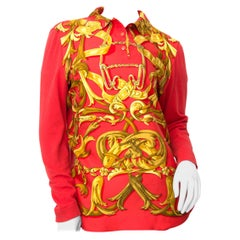 Hermès Red Printed Silk and Cashmere Top