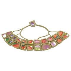 Gold Color Thread Vintage Red Purple Porcelain Japanese Style Statement Necklace