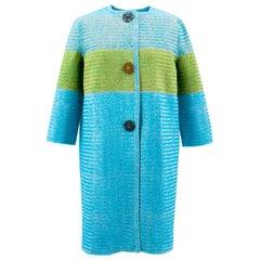 Ermanno Scervino Blue and Green Striped Coat US 8