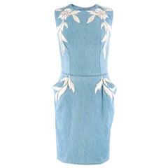 Ermanno Scervino Sleeveless Embroidered Denim Dress US 4
