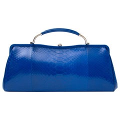 Ralph Lauren Electric Blue Python Clutch