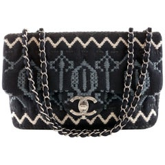 Chanel Black Jersey Embroidered Classic Flap Bag