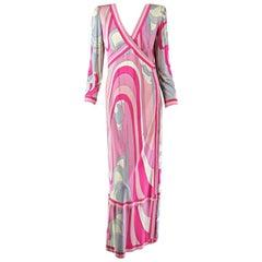 Emilio Pucci Silk Jersey V Plunge neckline Maxi Dress 1970s