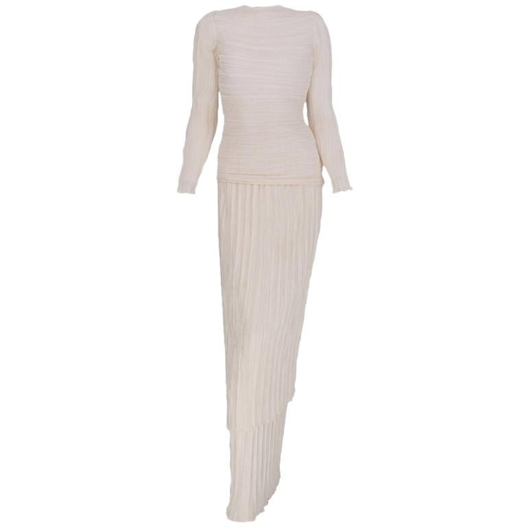 Mary McFadden Off White Tiered Fortuny Pleated Evening Dress 1980s