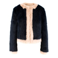 Shrimps Navy and Pink Faux Fur Coat US 6
