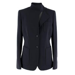 Agnona Navy Wool-blend Blazer US 6