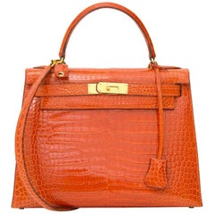 Hermès Kelly 28 Rouge Agathe Crocodile Porosus GHW With Strap
