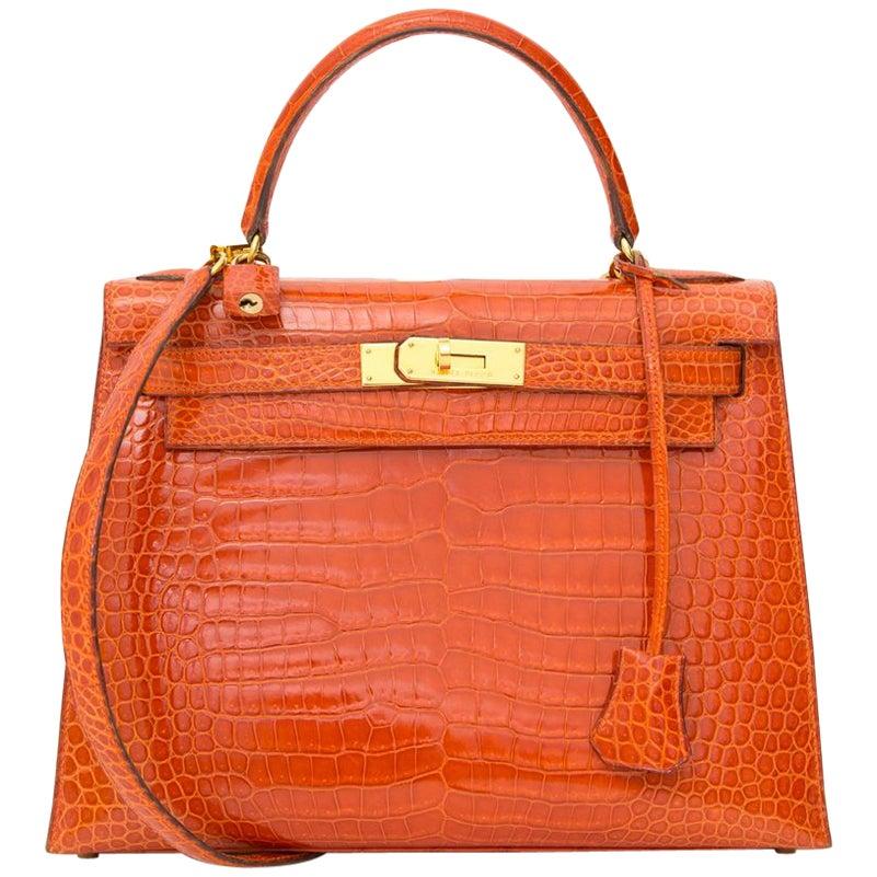 Hermès Kelly 28 Rouge Agathe Crocodile Porosus GHW With Strap