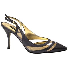 Dolce & Gabbana Grey Leather Slingback Heels - Size 38