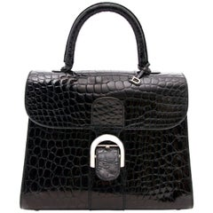 Delvaux Black Shiny Croco Brillant MM