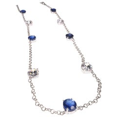 Elegant necklace of Sparkling Blue Kyanite and White Cambodian Zircon Gemstones