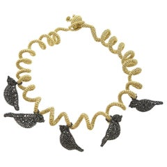 Gold Color Thread Black Birds Modern Art Nouveau Style Jewelery Necklace