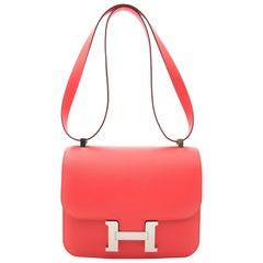 Never Used Hermès Constance 24cm Epsom Rose Jaipur