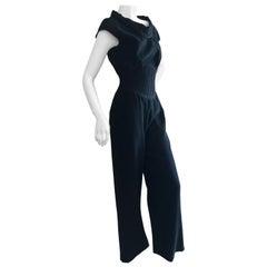 Thierry Mugler Couture Elegant Vintage 80's Black Jumpsuit w Corset Like Ribbing