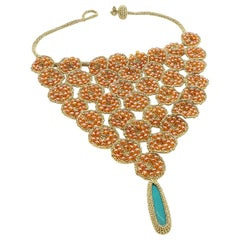 Gold Color Thread Orange Beads Turquoise Fashion Jewelry Statement Bold Necklace