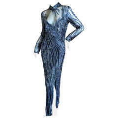Bob Mackie Outstanding Vintage Sheer Illusion Bugle Beaded Evening Dress